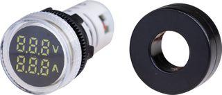 Ammeter-Voltmeter 22mm 0-100A 50-500VAC White