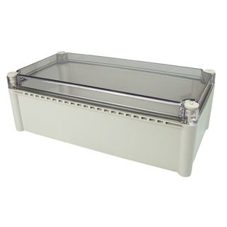 Enclosure Poly Grey Body Clr Screw lid 150x150x100