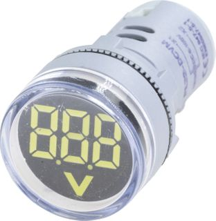Voltmeter 22mm 0-60VDC White
