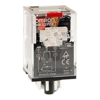 MKS Omron 2 pole Round pin relays with test button