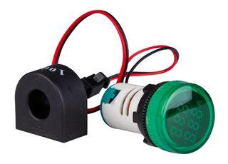 Ammeter-Voltmeter 22mm 0-100A 50-500VAC Green