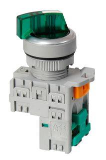 Selector Sw 3 position Ill 24V Sht Green 1 N/O 1 N