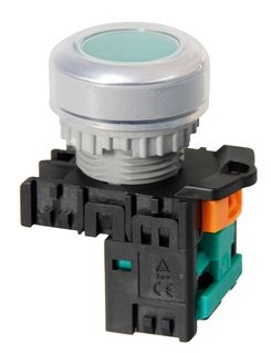 Pushbutton Raised Latching Green 1N/O Contact