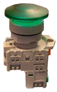 Pushbutton M/Room Head Green Ill 240VAC LED 1N/O