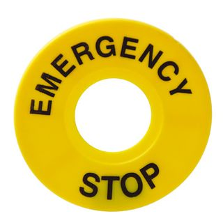 Pushbutton Legend Plate Emergency Stop 60mm Dia