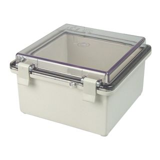 Enclosure ABS Grey Body Clr hinged Lid 135x155x85