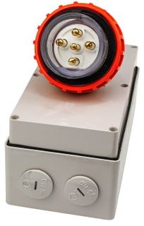 Appliance Inlet 5 Round Pins 20A 440V IP66