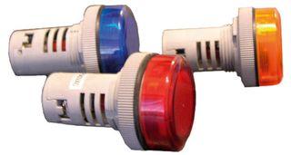 Pilot Light 22mm Hole 30mm Mnt BA9 24V AC/DC Amber