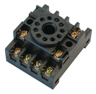 Relay Base Screwed Clamp 2 Pole for MKS2 Round Pin