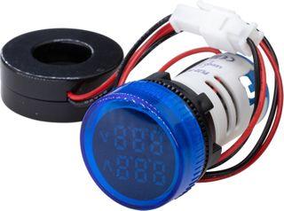 Ammeter - Voltmeter 22mm 0-100A 50-500VAC Blue