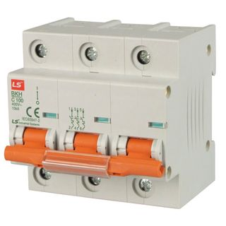 MCB LS Elec 3 Pole 80A D Curve 10kA 27 mm Wide