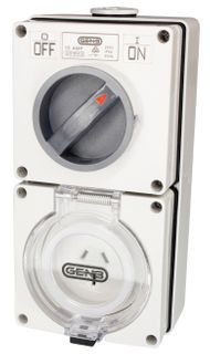 Switched Socket Outlet 3 Flat Pin 15A 250V IP66