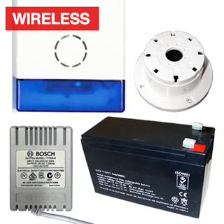 NETDIGITAL, Alarm accessory bundle, includes WP70A Battery Powered Wireless Siren & Strobe, 7AH Battery, 18V AC 1.33A plug pack, Top Hat screamer