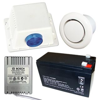 NETDIGITAL, Alarm accessory bundle, includes Box Style Cover, Siren/Horn, Strobe & Tamper switch, 12V 7AH Battery, 18V AC 1.33A plug pack, Flush Mount screamer