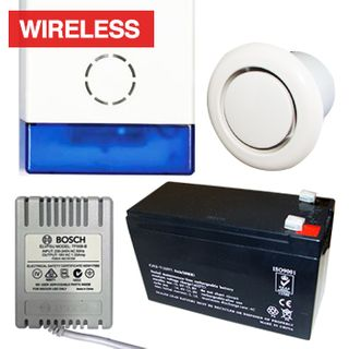NETDIGITAL, Alarm accessory bundle, includes WP70A Battery Powered Wireless Siren & Strobe, 7AH Battery, 18V AC 1.33A plug pack, Flush mount screamer