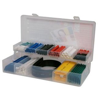 NETDIGITAL, Heat shrink tubing pack, 171 piece, Assorted Colours, Assorted Lengths & Diameters, 2:1 shrink ratio, comes in carry case