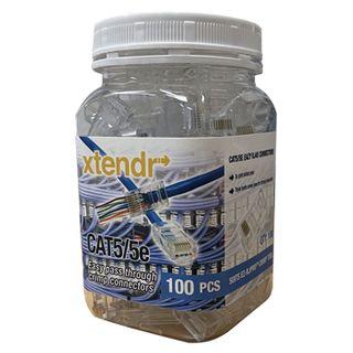 XTENDR, RJ45 CAT5/5e Easy pass thorugh crimp connector, requires EZRJPROHD crimp tool, Jar of 100