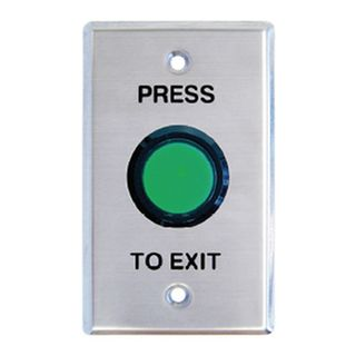 "NETDIGITAL, Switch plate, Wall, Labelled ""Press to Exit"", Stainless steel, With large green illuminated push button, N/O and N/C contacts"