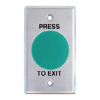 "NETDIGITAL, Switch plate, Wall, Labelled ""Press to Exit"", Stainless steel, With green mushroom head push button, N/O and N/C contacts,"