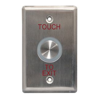 "NETDIGITAL, ""Touch to Exit"" Sensor Plate, Stainless Steel, Piezo Electric, Size - Plate 75mm x 120mm, Sensor 25mm Diameter"