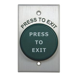"NETDIGITAL, Switch plate, Wall, Labelled ""Press to Exit"", Stainless steel, With green low profile mushroom head push button, N/O and N/C contacts, 22mm Dia Hole,"