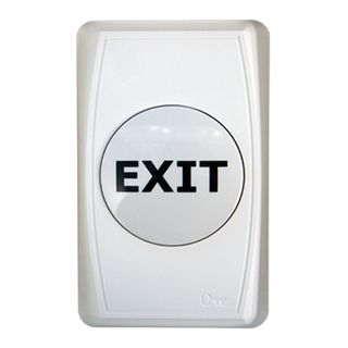 "NETDIGITAL, Switch plate, Wall, Labelled ""Exit"", White ABS Plastic, Large White raised push button,"