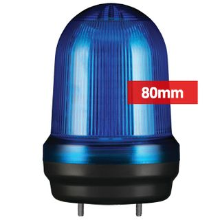 QLIGHT, MFL Series LED signal light, 80mm, BLUE colour, Four modes (Steady/Flashing/Strobing/Simulated Revolving), IP65, Built-in 80dB Max sounder, 3 bolt mounting, Optional mounts,