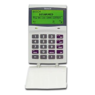 BOSCH, Solution 64/16 Plus, Key pad, Alphanumeric LCD, 64 zone, Built in proximity reader, White, Touch tone & backlit keys, Suits Solution 64 & Solution 16 Plus panels,
