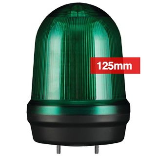 QLIGHT, MFL Series LED signal light, 125mm, GREEN colour, Four modes (Steady/Flashing/Strobing/Simulated Revolving), IP65, Built-in 80dB Max sounder, 3 bolt mounting, Optional mounts,
