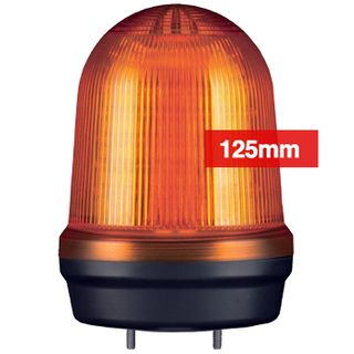 QLIGHT, MFL Series LED signal light, 125mm, AMBER colour, Four modes (Steady/Flashing/Strobing/Simulated Revolving), IP65, Built-in 80dB Max sounder, 3 bolt mounting, Optional mounts,