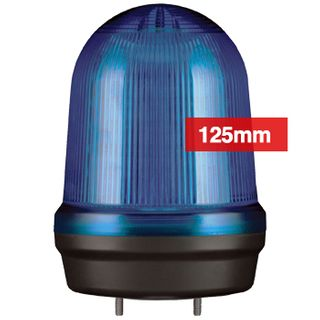 QLIGHT, MFL Series LED signal light, 125mm, BLUE colour, Four modes (Steady/Flashing/Strobing/Simulated Revolving), IP65, Built-in 80dB Max sounder, 3 bolt mounting, Optional mounts,