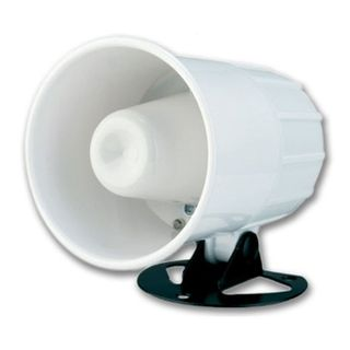 NETDIGITAL, Reflex horn speaker or 12v Siren, High powered, White, Includes mounting base, Separate tails for either 8 ohm or 12V DC operation