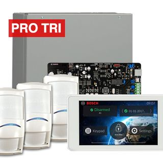 """BOSCH, Solution 3000, Alarm kit, Includes ICP-SOL3-P panel, IUI-SOL-TS5 5"""" Touch screen, 3x ISC-PDL1-W18G PIR detectors,"""