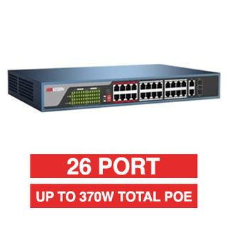 HIKVISION, 26 Port Ethernet POE network switch, Non-managed, 24x 10/100Mbps PoE ports + 2x Gigabit RJ45 & 2x SFP Uplink ports (Shared), Max port output 30W power, Total POE power up to 370W