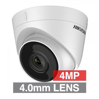 """HIKVISION, 4MP HD-IP Indoor/Outdoor Turret camera, Metal & Plastic, White, 4.0mm fixed lens, 30m IR, DWDR, Day/Night (ICR), 1/3"""" CMOS, H.265/H.265+, IP67, Tri-axis, 12V DC/PoE"""