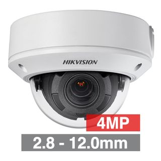 """HIKVISION, 4MP HD-IP Outdoor Vandal Dome camera, White, 2.8-12.0mm motorised zoom lens, 30m IR, WDR, Day/Night (ICR), 1/3"""" CMOS, H.265/H.265+, SD card slot, IP67, IK10, Tri-axis, 12V DC/PoE"""
