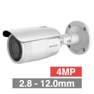 """HIKVISION, 4MP HD-IP Outdoor Bullet camera, White, 2.8-12.0mm motorised zoom lens, 30m IR, WDR, Day/Night (ICR), 1/3"""" CMOS, H.265/H.265+, SD card slot, IP67, Tri-axis, 12V DC/PoE"""
