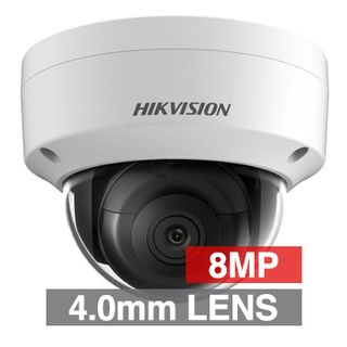 "HIKVISION, 8MP HD-IP Outdoor Vandal Dome camera, White, 4.0mm fixed lens, 30m IR, WDR, Day/Night (ICR), 1/2.5"" CMOS, H.265/H.265+, IP67, IK10, Tri-axis, 12V DC/PoE"
