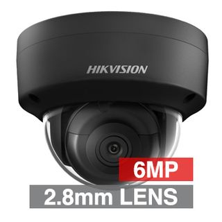 "HIKVISION, 6MP HD-IP Outdoor Vandal Dome camera, Black, 2.8mm fixed lens, 30m IR, WDR, Day/Night (ICR), 1/2.9"" CMOS, H.265/H.265+, IP67, IK10, Tri-axis, 12V DC/PoE"