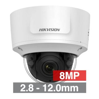 "HIKVISION, 8MP HD-IP Outdoor Vandal Dome camera, White, 2.8-12.0mm motorised zoom lens, 30m IR, WDR, Day/Night (ICR), 1/2.5"" CMOS, H.265/H.265+, IP67, IK10, Tri-axis, 12V DC/PoE"
