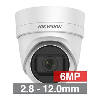 "HIKVISION, 6MP HD-IP Outdoor Vandal Turret camera, White, 2.8-12.0mm motorised zoom lens, 30m IR, WDR, Day/Night (ICR), 1/2.9"" CMOS, H.265/H.265+, IP67, IK10, Tri-axis, 12V DC/PoE"