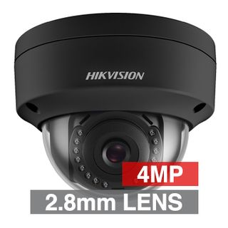 "HIKVISION, 4MP HD-IP Outdoor Vandal Dome camera, Black, 2.8mm fixed lens, 30m IR, DWDR, Day/Night (ICR), 1/3"" CMOS, H.265/H.265+, IP67, IK10, 2 Axis only, 12V DC/PoE"