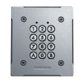 AIPHONE, Keypad, flush mount, vandal and weather resistant, stand alone, 100 users, relay output, backlit keys, IP54 rated, 12 - 24V AC/D,