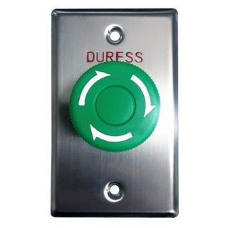 "NETDIGITAL, Switch plate, Wall, Labelled ""Duress"", Stainless steel, With green twist to release push button, N/O and N/C contacts,"
