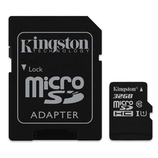 KINGSTON, 32GB MicroSD SDHC/SDXC, Class 10, Read 10MB/s, with standard SD adaptor.