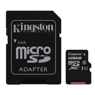 KINGSTON, 128GB MicroSD SDHC/SDXC, Class 10, Read 10MB/s, with standard SD adaptor.