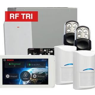 "BOSCH, Solution 3000, Wireless Alarm kit, Includes ICP-SOL3-P panel, IUI-SOL-TS5 5"" LCD Touchscreen keypad, 2x RFDL-11 Wireless Tri-Tech detectors, B810 Wireless receiver, 2x HCT4UL transmitters"