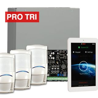 "BOSCH, Solution 3000, Alarm kit, Includes ICP-SOL3-P panel, IUI-SOL-TS7 7"" Touch screen, 3x ISC-PDL1-W18G PIR detectors,"