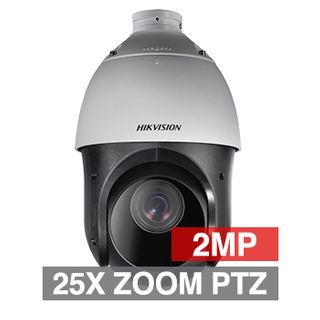 "HIKVISION, HD-IP Outdoor PTZ camera, 100m IR, 25x Zoom (4.8 - 120mm lens), 2.0MP/Full HD 1080p, 1/2.8"" CMOS, 0.005Lux (sens-up), H.265/H.265+, IP66, 12V DC/POE+, includes wall mount bracket"