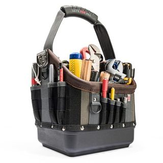 VETO PRO PAC, Tech Series, Medium HVAC technician tool bag, Open style, 28 tiered pockets,  Weather resistant base & fabric, 254(L) x 204(W) x 458(H)mm